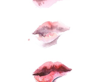 Download Lip Print, Biting Lips, Abstract Painting, Abstract Lip Print, Fashion Print, Fashion Wall Art, Fashion watercolor,