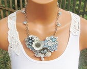Jewelry Assemblage Collage Necklace, Off White and Blue