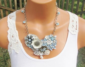 Repurposed Upcycled Vintage Jewelry Necklace, Off White and Blue