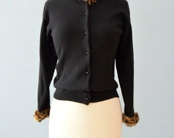 Vintage 1960s Sweater...JULIUS BERGER Black Cotton Sweater with Faux Leopard Trim