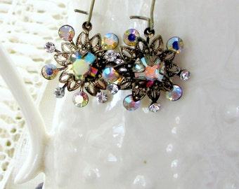Guiding Star, Vintage Aurora Borealis Glass Rhinestone & Vintage Filigree Flower Vintage Assemblage Earrings by Hollywood Hillbilly