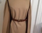 Danico Vintage Wool Cape Poncho w/ Brown Braid Trim, Beltable (Belt not Included)