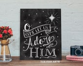 O Come Let Us Adore Him Christmas Chalkboard  Word Art Sign Decor on Wood