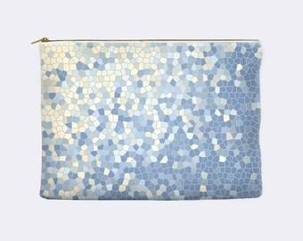 Serenity blue makeup bag, pale yellow makeup bag, cosmetic pouch, pencil pouch, pencil case, zippered pouch, large cosmetic bag, makeup case