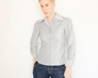 Vintage 60's button down shirt, shimmery silver glitter material, fitted waist with attached belt ties - Small / Medium
