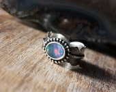 Australian Black Opal, Sterling Silver, Cocktail Ring, Feather Ring... Size 7.5, Size 8... Mr. Raven... The Galaxy Edition...
