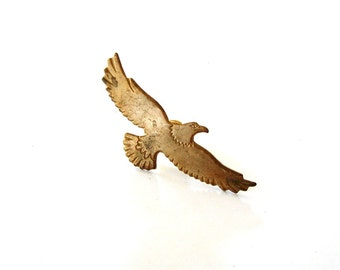 bald eagle tie tack . brass eagle pin brooch . eagle lapel pin