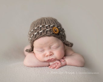 Boy's Aviator Beanie in Brown, Adorable Photography Prop for Newborn and Ready to Ship