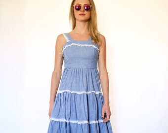 70s Tiered Chambray Prairie Tank Top Sun Dress xxs