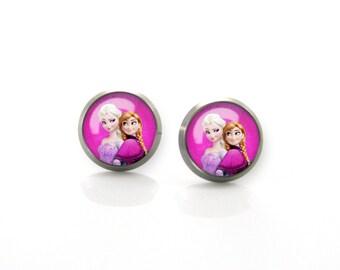 Titanium Earrings Frozen Elsa Anna | Hypoallergenic Sensitive Earring Stud | Girls earrings | Children Titanium earrings for sensitive ears