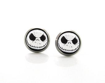 Nightmare Before Christmas Jack Skellington Titanium Post Earrings | Hypoallergenic Earring Stud | Titanium Earrings Sensitive jewelry post