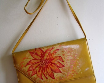 Yellow Clutch Purse Leather Hand Painted Flower Shoulder Strap Boutique Upcycled - Size Small