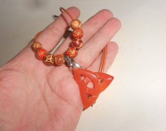 Carnelian Triquetra Crystal Pendant Necklace Beautiful Carved Crystal With Lovely Triple Knot-Celtic Symbol Stunning New Age