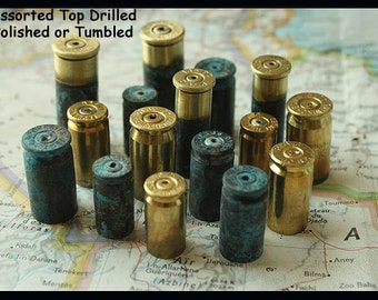 CUSTOM Brass BULLET Shell CASINGS for Bead Caps and Jewelry making - Brass, Green Patina, Drilled or Undrilled Your Choice