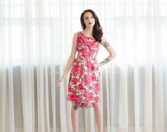 1960s Chiffon Dress - Vintage 60s Silk Dress - War of the Roses Dress