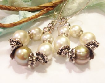 "Pearl and Silver Dangle Earrings, Handmade Etsy, Unique Gift for Her, Birthday, Anniversary, Classic, Cream, Drop: 2 3/4"", Hoop, Cathedral"