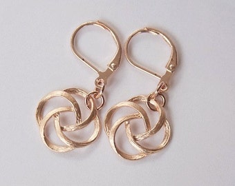 Handmade Rose Gold Earrings Rose Gold Dangle Earrings Rose Gold Knot Earrings