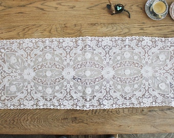 Beautiful Antique Embroidered Lace Runner