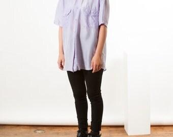 Lilac Silk Button Up / Oversized Summer Shirt / Short Sleeve Blouse