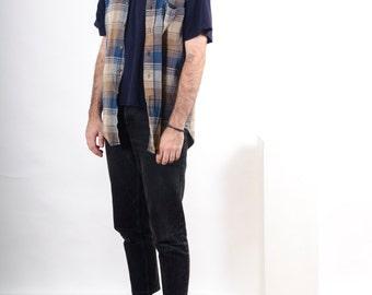 Sleeveless Plaid Shirt / Oversized Vintage Shirt / Mens Button Up