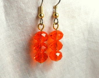Orange Crystal Rondelle Stack Earrings - Surgical Steel French Hooks BBBBGiftsCom