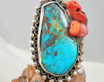 Native American Pawn Turquoise Coral Sterling Silver Ring