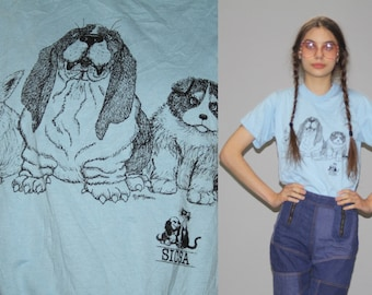 Vintage SICSA Dogs Animal Rights T Shirt  - Vintage Dog  T Shirt  - 50/50 Cotton Poly Tee -  Wz0607