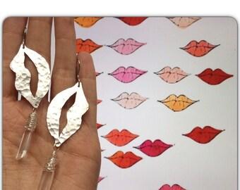 Lips earrings, lip and crystal point dangle earrings, kissing