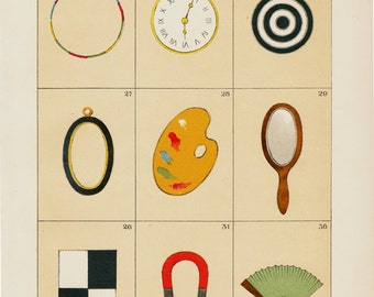 1903 Antique everyday objects print, pocket watch, dartboard, paint palette, mirror, horseshoe, fan, chromolithograph, 12 x 9 inches