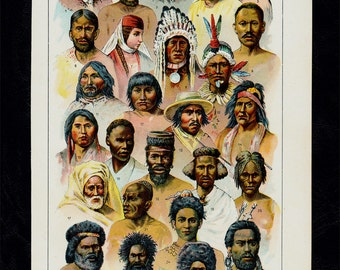 1899 Antique print of HUMAN RACES, Anthropology, Appearance and head shape of different races,  115 years old antique print