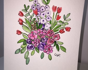 Flowers Watercolor Card / Hand Painted Watercolor Card
