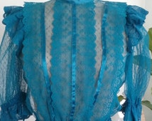 80s TURQUOISE LACE TOP—Victorian Collar—Satin Ribbon Details—Sheer—Open Back—Elastic Waist and Cuffs