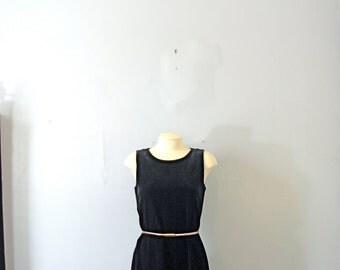 Vintage 90's black velvet mini dress, sleeveless babydoll dress, size medium