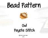 Cute Beaded Owl PATTERN, Peyote or Brick Stitch Seed Bead Weaving
