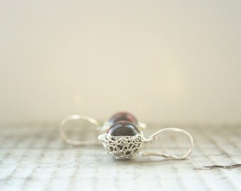 Red Tiger Eye Earrings. Deep Red Earrings. Round Earrings. Wire Crochet Silver Earrings. Wire Crochet Jewellery. Made to Order.