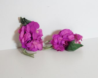 Vintage Millinery Flowers Shabby Chic Fuchsia Peonies Tattered Corsage Blossoms 40's 50's Mid Century Fashion