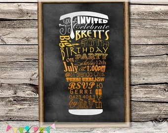 Bucks Night - Menu Board Beer Invitation - Masculine Invitation - 50th Birthday Party - Father's Day - Printable - DIY - Digital File