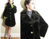 Vintage 1960s Faux Fur Coat / 60s Black Coat with Yellow Buttons / Medium
