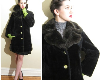 Vintage 1960s Faux Fur Coat / 60s Black Coat with Yellow Buttons / Medium