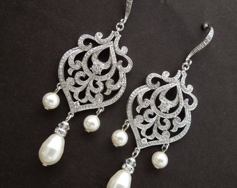 Pearl Earrings Bridal Chandelier Earrings Wedding pearl earrings statement earrings cubic zirconia bridal earrings Swarovski earrings APRIL