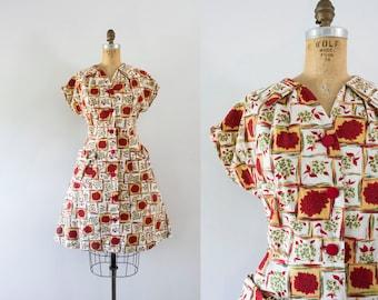 1950s Red Devine floral cotton dress / 50s autumn frock