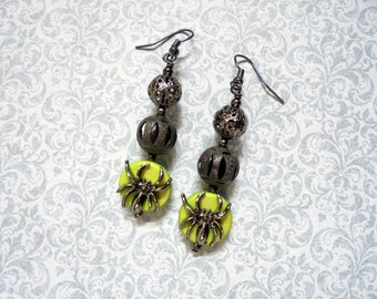 Black and Lime Green Spider Earrings (2297)