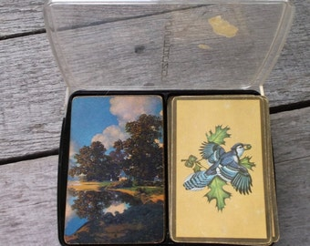 Playing Cards Vintage 1970's or 1980's Congress 2 Decks of Cards original case Blue Jays and Home Scenery with Trees Lake and Sky COMPLETE