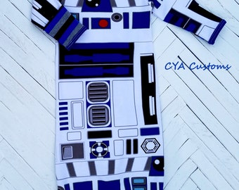Infant gown baby sleeper pajamas fits 0-3 months up to 12 lbs. R2D2 Star Wars inspired
