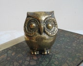 Vintage Brass Owl Statue Chubby Big Eyed Bird, Bohemian Woodlands