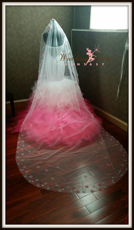 Pink ombre dip dye wedding dress sweetheart neckline layered for Pink ombre wedding dress