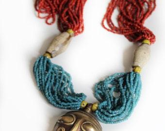Tribu, Vintage 1970s Bohemian Pendant Necklace