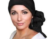 Black Turban, Black Head Wrap, Chemo Hat, Hat & Scarf Set, Rayon Challis 103-15