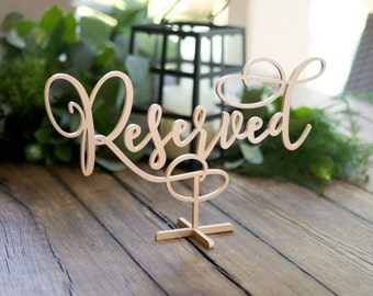 Reserved Sign for Wedding Standing Wooden Table Sign Painted Gold or Other, Wedding or Party Table Decor Reception Sign (Item - LRV150)