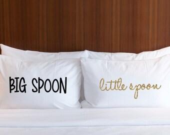 Pillowcases Gift for Couple - Big Spoon Little Spoon, Glitter Pillow Case Set for Bride Wedding Anniversary Bridal Shower (Item - PSP400)